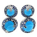 De Buman 14K White Gold Blue Topaz and 1/2ct TDW Diamond Earrings (H-I, I1-I2)