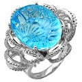 De Buman 14k White Gold Blue Topaz and 1/3ct TDW Diamond Ring (H-I, I1-I2)