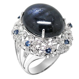 De Buman 14K White Gold Natural Sapphire and 1 1/5ct TDW Diamond Ring (H-I, I1-I2)