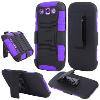 INSTEN Advanced Armor Dual Layer Hybrid Stand PC Soft Silicone Holster with Phone Case Cover for Samsung Galaxy S3 GT-i9300