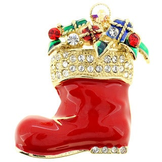 Red Christmas Boots Brooch