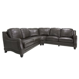 Moore Java Brown Italian Leather Sectional Sofa
