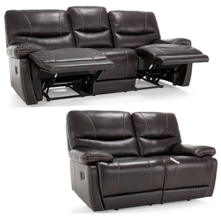 Bond Espresso Brown Italian Leather Reclining Sofa and Loveseat