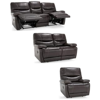 Bond Espresso Brown Italian Leather Reclining Sofa, Loveseat and Chair