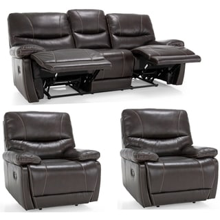 Bond Espresso Brown Italian Leather Reclining Sofa and Two Chairs