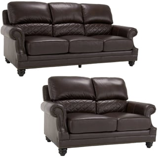 James Brown Italian Leather Sofa and Leather Loveseat
