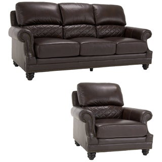 James Brown Italian Leather Sofa and Leather Chair