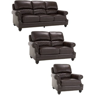 James Brown Italian Leather Sofa, Leather Loveseat and Leather Chair