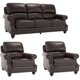 James Brown Italian Leather Sofa and Two Leather Chairs