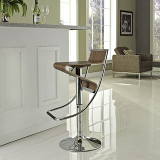 Zig-Zag Height Adjustable Bar Stool in Walnut