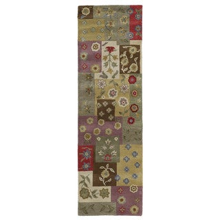 Lawrence Multi Patchwork Hand-Tufted Wool Rug (2'3 x 7'6)