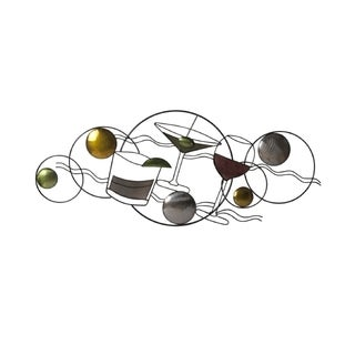 Elements 32.5x14-inch Cocktail Glasses Metal Wall Decor