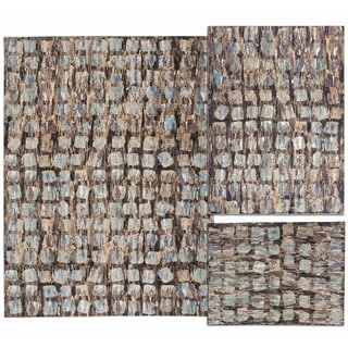 Tilted Squares Collection Beige Rug 3pc Set by Nourison (3'11 x 5'3) (5'3 x 7'3) (7'10 x 10'6)