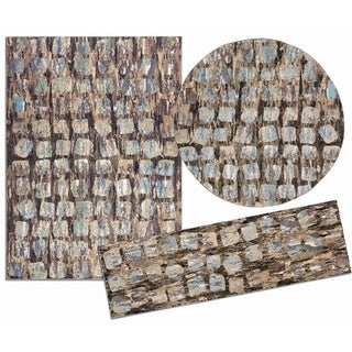 Tilted Squares Collection Beige Rug 3pc Set by Nourison (2'2 x 7'3) (5'3 x 5'3 Round) (5'3 x 7'3)