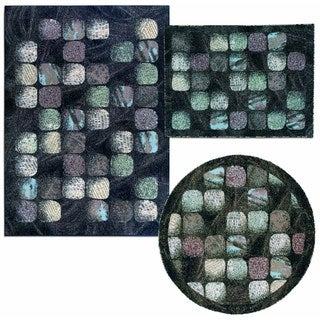 Cobble Stone Collection Charcoal Rug 3pc Set by Nourison (3'11 x 5'3) (5'3 x 5'3 Round) (5'3 x 7'3)