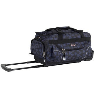CalPak 'Champ' Blue Scatter Heart 21-inch Carry On Rolling Upright Duffel Bag