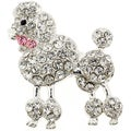 Rose Bow Poodle Crystal Animal Brooch Pin