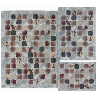 Cobble Stone Collection Beige Rug 3pc Set by Nourison (3'11 x 5'3) (5'3 x 7'3) (7'10 x 10'6)