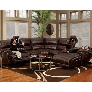 Franklin Presley Chocolate Faux Leather Motion 4-piece Sectional