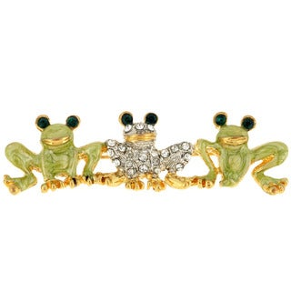 Frog Family Crystal Animal Pin Brooch