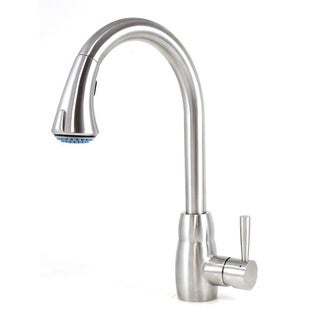 Cypress Style Solid Stainless Steel Lead-free Single-handle Pull Out Sprayer Kitchen Mixer Faucet