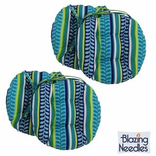 Blazing Needles Patterned 16 x 16-inch Round Outdoor Chair Cushions (Set of 4)