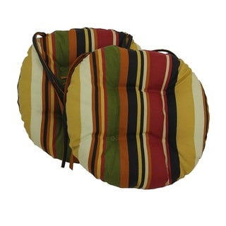 Blazing Needles 16x16-inch Round Patterned Outdoor Chair Cushions (Set of 2)