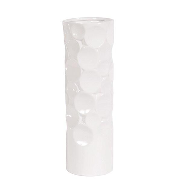 Glossy White Small Hammered Ceramic Cylinder Vase
