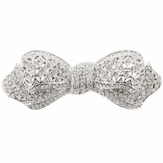 Silver Bow Knot Pin Swarovski Crystal Fashion Pin Brooch