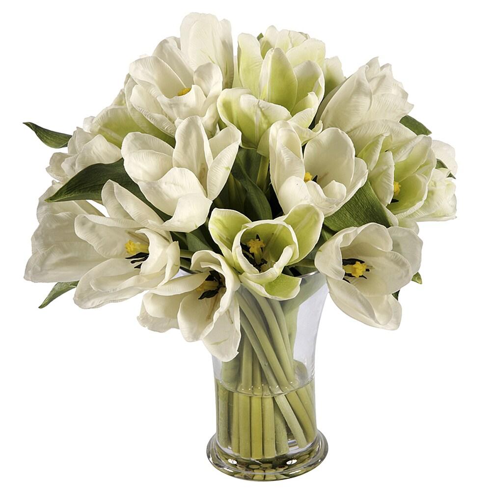 Faux White Tulips in Glass Vase