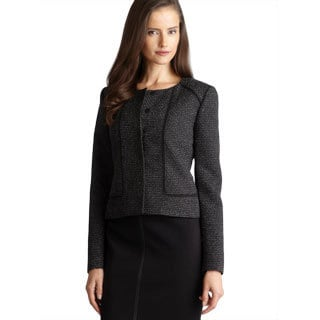 Tahari Contrast Piping Tweed Jacket With Hidden Buttons.