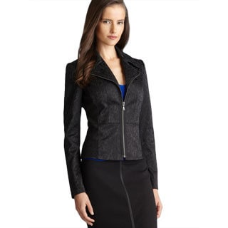 Tahari Notched Lapel Zip Up Embroidered Jacket