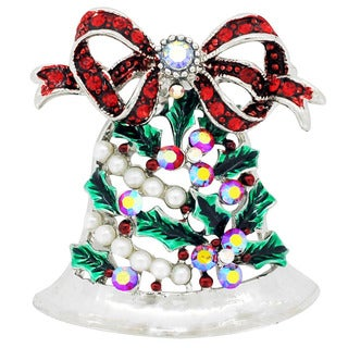 Siam And Pearl Christmas Bell Christmas Brooch Pin