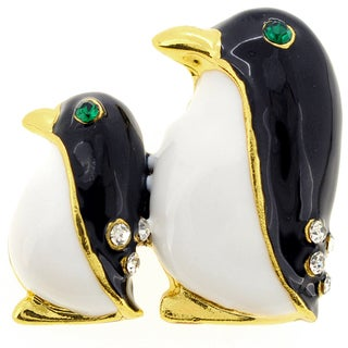 Mom and Baby Enamel Penguin Crystal Pin Brooch