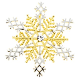 Gold and Silver Snowflake Crystal Christmas Pin Brooch and Pendant