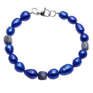 Blue Cultured Freshwater Pearl and Agate Bracelet (9-14 mm)