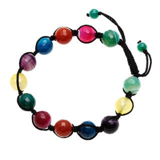7-inch Multicolored Agate Bracelet