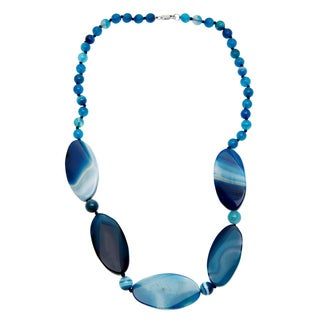 Sterling Silver 24-inch Blue Agate Necklace