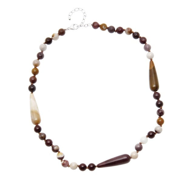 20-inch Sterling Silver Jasper Bead Necklace