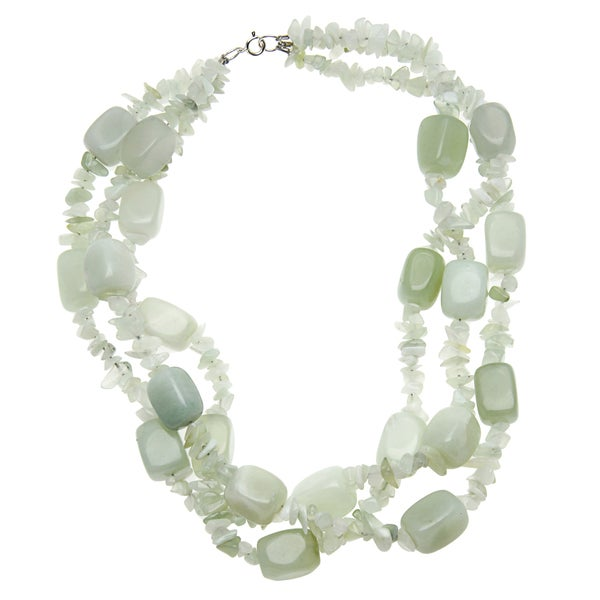 18-inch Green Serpentine 3-strand Necklace