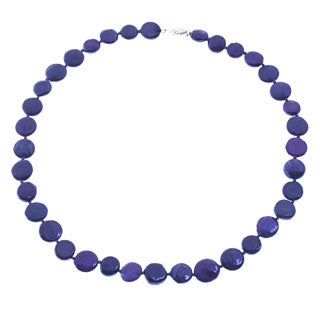 Sterling Silver 20-inch Purple Coin Pearl Necklace (5-6 mm)