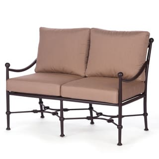 Origin All Welded Cast Aluminum Loveseat with Sunbrella Canvas Camel Cushions