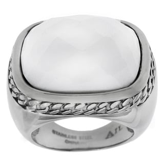 Stainless Steel White Agate Ring