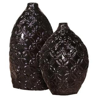 Glossy Black Ceramic Floral Textured Vases (Set of 2)