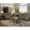 Tristin Plush Fern Green Microfiber Dual Rocker/Reclining Loveseat