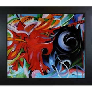 Franz Marc 'Fighting Forms' Hand Painted Framed Canvas Art