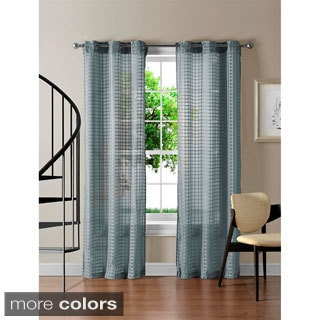 'Jacob' Grommet Sheer 84 inch Gingham Curtain Panel Pair