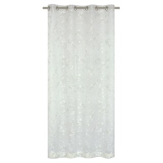 Bouquet Printed White Floral Burnout 95 inch Curtain Panel Pair