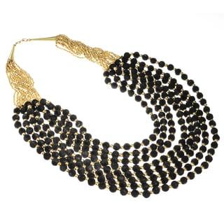Haya Gold and Black Felt Bead Fashion Handmade Necklace (India)