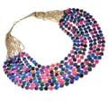 Haya Gold and Multi Color Felt Bead Fashion Handmade Necklace (India)